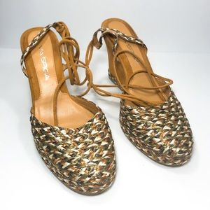 Via Spiga Ankle Tie Wedge Sandals Size 8